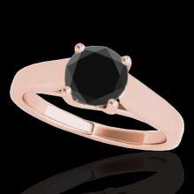 Genuine 1.0 CTW Certified Black Genuine Diamond Bridal Solitaire Ring Gold - 35529-REF#38T8X