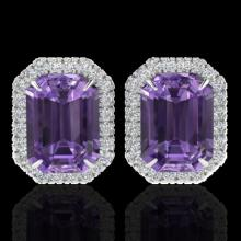 Natural 9.40 CTW Amethyst & Micro Pave Diamond Certified Halo Earrings 18K Gold - 21216-REF#67M2H