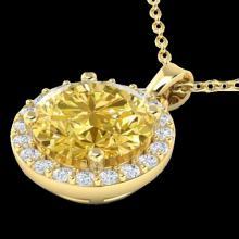 Genuine 2.0 CTW Citrine & Halo Diamond Micro Pave Necklace Solitaire 18K Gold - 21559-REF#33V7F