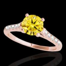 Genuine 1.45 CTW Certified Fancy Intense Genuine Diamond Solitaire Ring Gold - 34987-REF#107N3G
