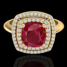 Genuine 1.50 CTW Ruby & Micro Pave Diamond Certified Pave Halo Ring 18K Gold - 20767-REF#69F5M