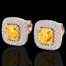 Natural 2.16 CTW Citrine & Micro Pave Diamond Earrings Solitaire Double Halo 14K Gold - 20338-REF#80N3G