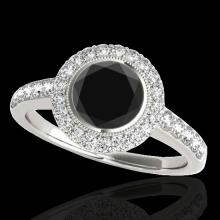 Genuine 1.50 CTW Certified Black Genuine Diamond Bridal Solitaire Halo Ring Gold - 34444-REF#70K2T