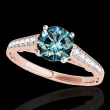 Genuine 1.35 CTW Certified Fancy Blue Genuine Diamond Solitaire Bridal Ring Gold - 34913-REF#98Y7V