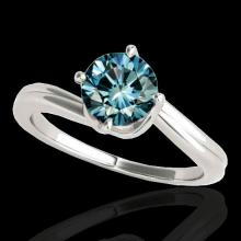 Genuine 1.0 CTW Certified Fancy Blue Genuine Diamond Bypass Solitaire Ring Gold - 35034-REF#91R2Z