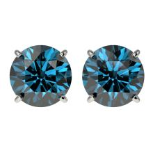 Genuine 3.0 CTW Certified Intense Blue Genuine Diamond Solitaire Stud Earrings Gold - 33126-REF#271H2R