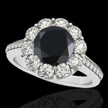 Genuine 2.75 CTW Certified Black Genuine Diamond Bridal Solitaire Halo Ring Gold - 33255-REF#109K5T