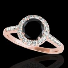 Genuine 1.50 CTW Certified Black Genuine Diamond Bridal Solitaire Halo Ring Gold - 33485-REF#66R7Z