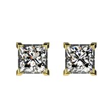 Genuine 1.0 CTW Certified Quality Princess Genuine Diamond Stud Earrings Gold - 33065-REF#106T2X