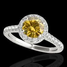Genuine 1.40 CTW Certified Fancy Intense Genuine Diamond Solitaire Halo Ring Gold - 33587-REF#108V5F