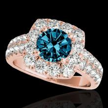 Genuine 2.25 CTW Certified Fancy Blue Genuine Diamond Solitaire Halo Ring Gold - 33640-REF#161M5H