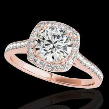 Genuine 1.65 CTW Certified G-I Genuine Diamond Bridal Solitaire Halo Ring Gold - 34194-REF#136R3Z
