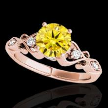 Genuine 1.15 CTW Certified Fancy Intense Genuine Diamond Solitaire Antique Ring Gold - 34818-REF#97A7N