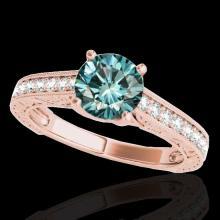 Genuine 1.32 CTW Certified Fancy Blue Genuine Diamond Solitaire Bridal Ring Gold - 34949-REF#102G5W