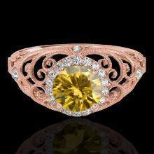Genuine 1.22 CTW Certified Fancy Intense Genuine Diamond Solitaire Halo Ring Gold - 33786-REF#108N2G