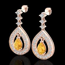 Genuine 2.25 CTW Citrine & Micro Pave Diamond Earrings Designer 14K Gold - 23149-REF#91X5A