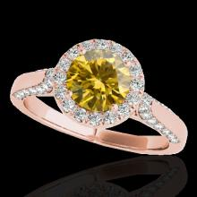 Genuine 2.15 CTW Certified Fancy Intense Genuine Diamond Solitaire Halo Ring Gold - 33579-REF#188Y8V
