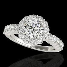 Genuine 1.75 CTW Certified G-I Genuine Diamond Bridal Solitaire Halo Ring Gold - 34159-REF#128H8R