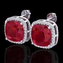 Natural 12 CTW Ruby & Micro Pave Halo Diamond Earrings Solitaire 18K Gold - 23066-REF#84V5F