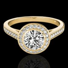 Genuine 1.30 CTW Certified G-I Genuine Diamond Bridal Solitaire Halo Ring Gold - 33627-REF#110H3R