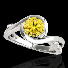 Genuine 1.15 CTW Certified Fancy Intense Genuine Diamond Solitaire Ring Gold - 34842-REF#102X5A