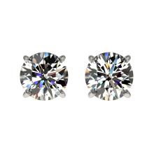 Genuine 1.05 CTW Certified H-I Quality Genuine Diamond Solitaire Stud Earrings Gold - 36575-REF#63G8W