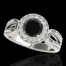 Genuine 1.40 CTW Certified Black Genuine Diamond Bridal Solitaire Halo Ring Gold - 34561-REF#74N3G