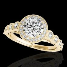 Genuine 1.50 CTW Certified G-I Genuine Diamond Bridal Solitaire Halo Ring Gold - 33600-REF#115Z2Y