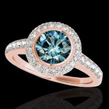 Genuine 1.50 CTW Certified Fancy Blue Genuine Diamond Solitaire Halo Ring Gold - 34447-REF#120G2W