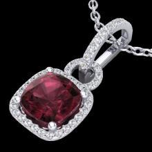 Genuine 3.50 CTW Garnet & Micro Pave Diamond Certified Necklace 18K Gold - 22983-REF#44F7M