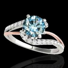 Genuine 1.35 CTW Certified Fancy Blue Diamond Bypass Solitaire Ring 2 Tone Gold - 35107-REF#106Y8V