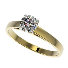 Genuine 0.75 CTW Certified H-I Quality Genuine Diamond Solitaire Engagement Ring Gold - 32973-REF#58G3W