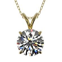 Genuine 1.50 CTW Certified H-I Quality Genuine Diamond Solitaire Necklace Gold - 33222-REF#287R8Z