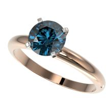 Genuine 1.47 CTW Certified Intense Blue Genuine Diamond Solitaire Engagement Ring Gold - 36444-REF#137T8X