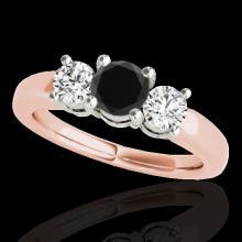 Genuine 2.0 CTW Certified Black Genuine Diamond 3 Stone Bridal Solitaire Ring Gold - 35443-REF#170F2M