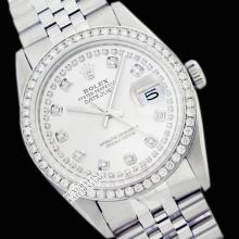 Rolex Men's Stainless Steel, QuickSet, Diamond Dial & Diamond Bezel - REF#458H2T