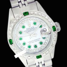 Rolex Men's Stainless Steel, QuickSet, Diam/Emerald Dial & Diam/Emerald Bezel - REF#463T6V