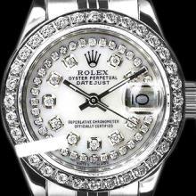 Rolex Men's Stainless Steel, QuickSet, Diamond Dial & Diamond Bezel - REF#458X2G