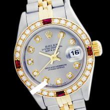 Rolex Men's 2Tone 14K Gold/ SS, QuickSet, Diam Dial & Diam/Ruby Bezel - REF#458G2R