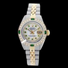 Rolex Men's 2Tone 14K Gold/ SS, QuickSet, Diam/Ruby Dial & Diam/Emerald Bezel - REF#474J5Y