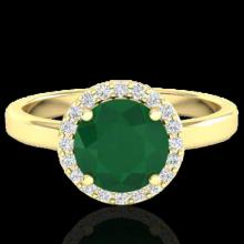 2 CTW Emerald & Halo Diamond Micro Pave Ring Solitaire Bridal 18K Yellow Gold - 21629-REF#49A3V