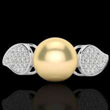 0.27 CTW Micro Pave Diamond Certified & Golden Pearl Designer Ring 18K White Gold - 22639-REF#31X6Y