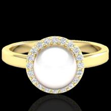 0.25 CTW Micro Pave Halo Diamond Certified & White Pearl Ring 18K Yellow Gold - 21647-REF#47H8W