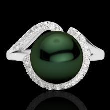 0.27 CTW Diamond Certified & Peacock Pearl Designer Ring 18K White Gold - 22621-REF#42Y3X