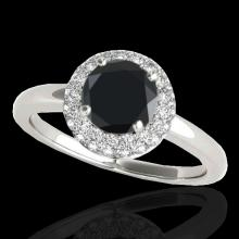Genuine 1.43 CTW Certified Black Genuine Diamond Bridal Solitaire Halo Ring Gold - 33664-REF#60Z2Y