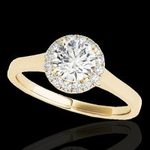 Genuine 1.11 CTW Certified G-I Genuine Diamond Bridal Solitaire Halo Ring Gold - 33816-REF#104N3G