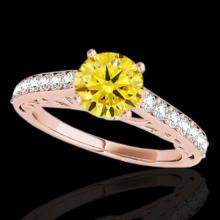 Genuine 1.65 CTW Certified Fancy Intense Genuine Diamond Solitaire Ring Gold - 35031-REF#130A9N