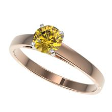 Genuine 0.77 CTW Certified Intense Yellow Diamond Solitaire Engagement Ring Gold - 36494-REF#58R7Z