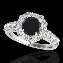 Genuine 2.25 CTW Certified Black Genuine Diamond Bridal Solitaire Halo Ring Gold - 33385-REF#104H7R