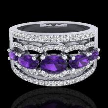 Natural 2.25 CTW Amethyst & Micro Pave Diamond Certified Designer Ring 10K Gold - 20792-REF#59X5A